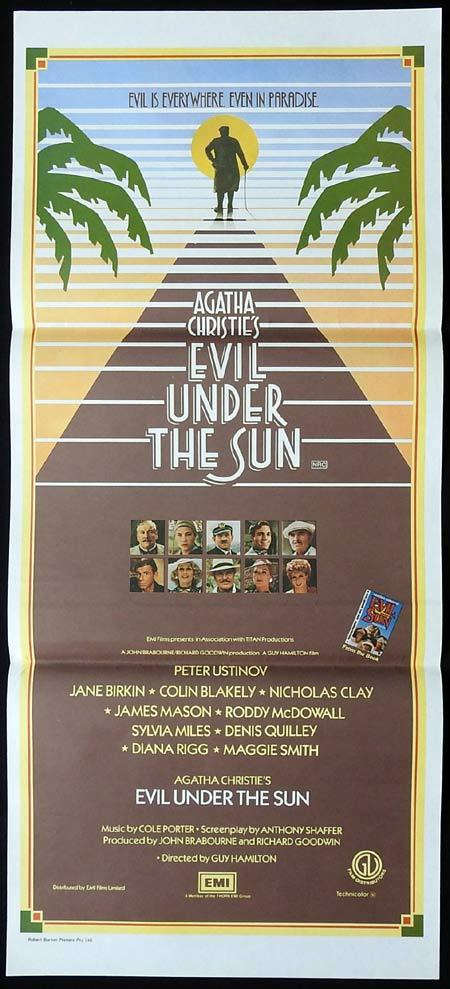 EVIL UNDER THE SUN Original Daybill Movie Poster Peter Ustinov as Poirot