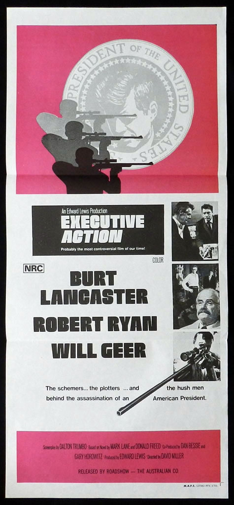 EXECUTIVE ACTION Burt Lancaster VINTAGE Daybill Movie poster