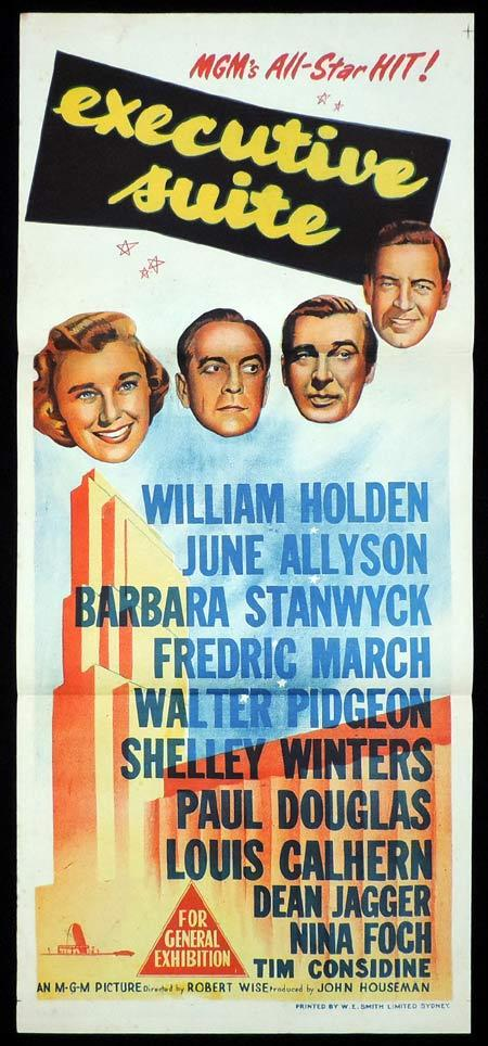 EXECUTIVE SUITE Original Daybill Movie Poster William Holden June Allyson Barbara Stanwyck