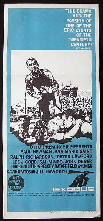 EXODUS Movie Poster 1960 Otto Preminger PAUL NEWMAN daybill