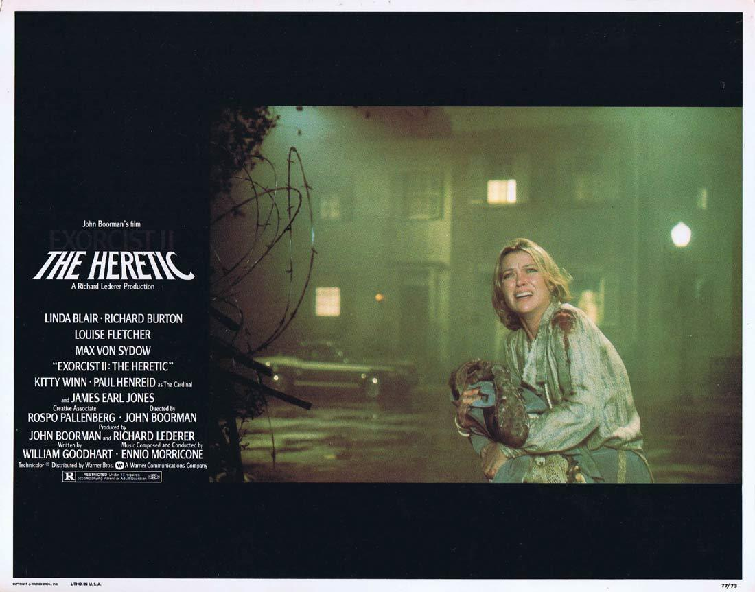 EXORCIST II THE HERETIC Original Lobby Card 2 Linda Blair Richard Burton