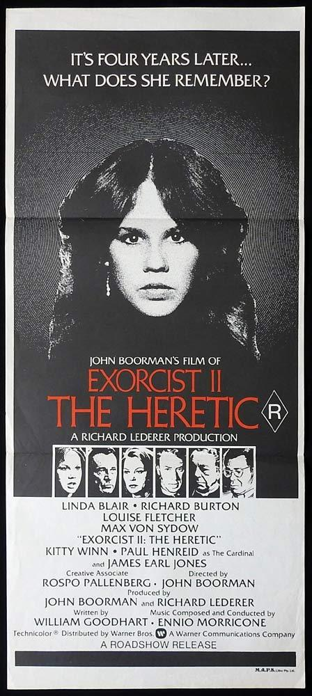 THE EXORCIST II THE HERETIC Original Daybill Movie Poster Linda Blair Horror
