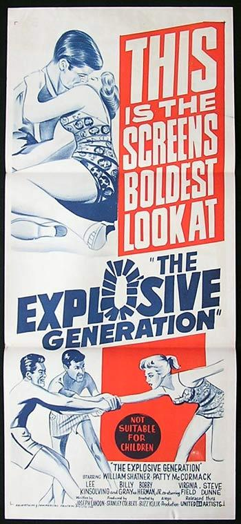 THE EXPLOSIVE GENERATION Original Daybill Movie Poster William Shatner