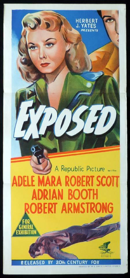 EXPOSED Original Daybill Movie Poster Adele Mara Film Noir