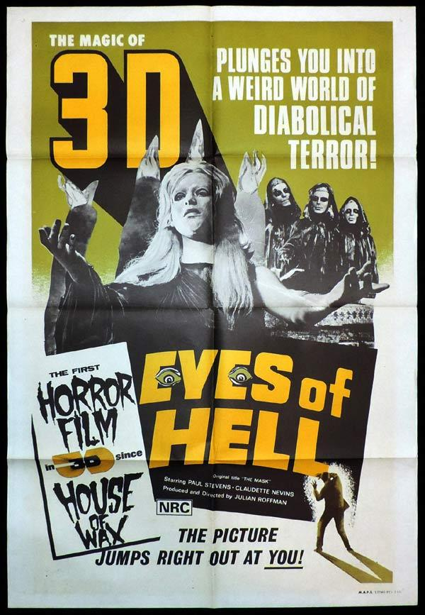 EYES OF HELL aka THE MASK 3D One Sheet Movie Poster Canadian Horror 70s