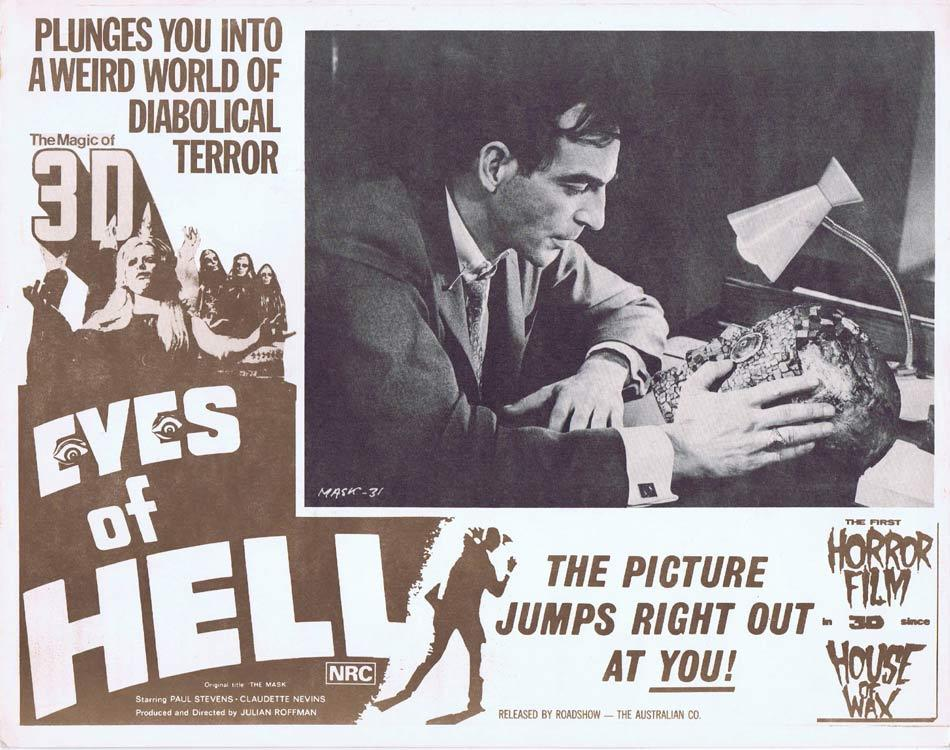 EYES OF HELL Lobby Card 2 Horror 3D aka THE MASK Claudette Nevins