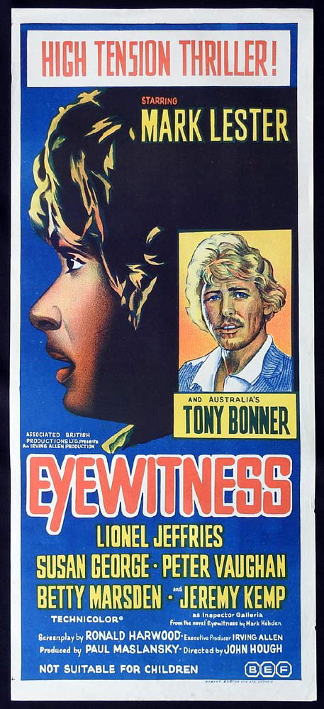 EYEWITNESS Original Daybill Movie Poster Mark Lester Tony Bonner