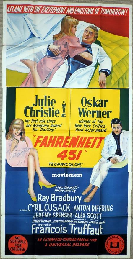 FAHRENHEIT 451 Original 3 Sheet Movie Poster Francois Truffaut
