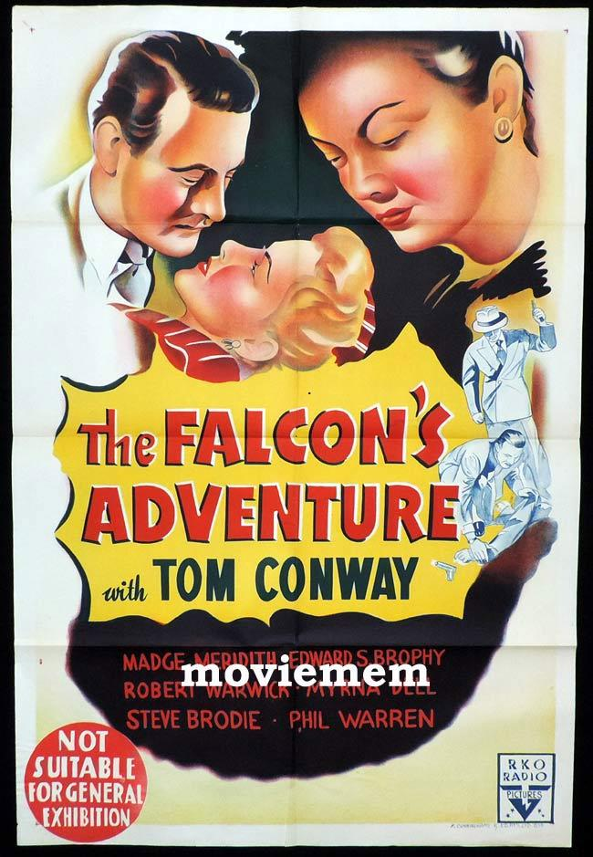 THE FALCON'S ADVENTURE Original One sheet Movie Poster TOM CONWAY RKO Very Rare