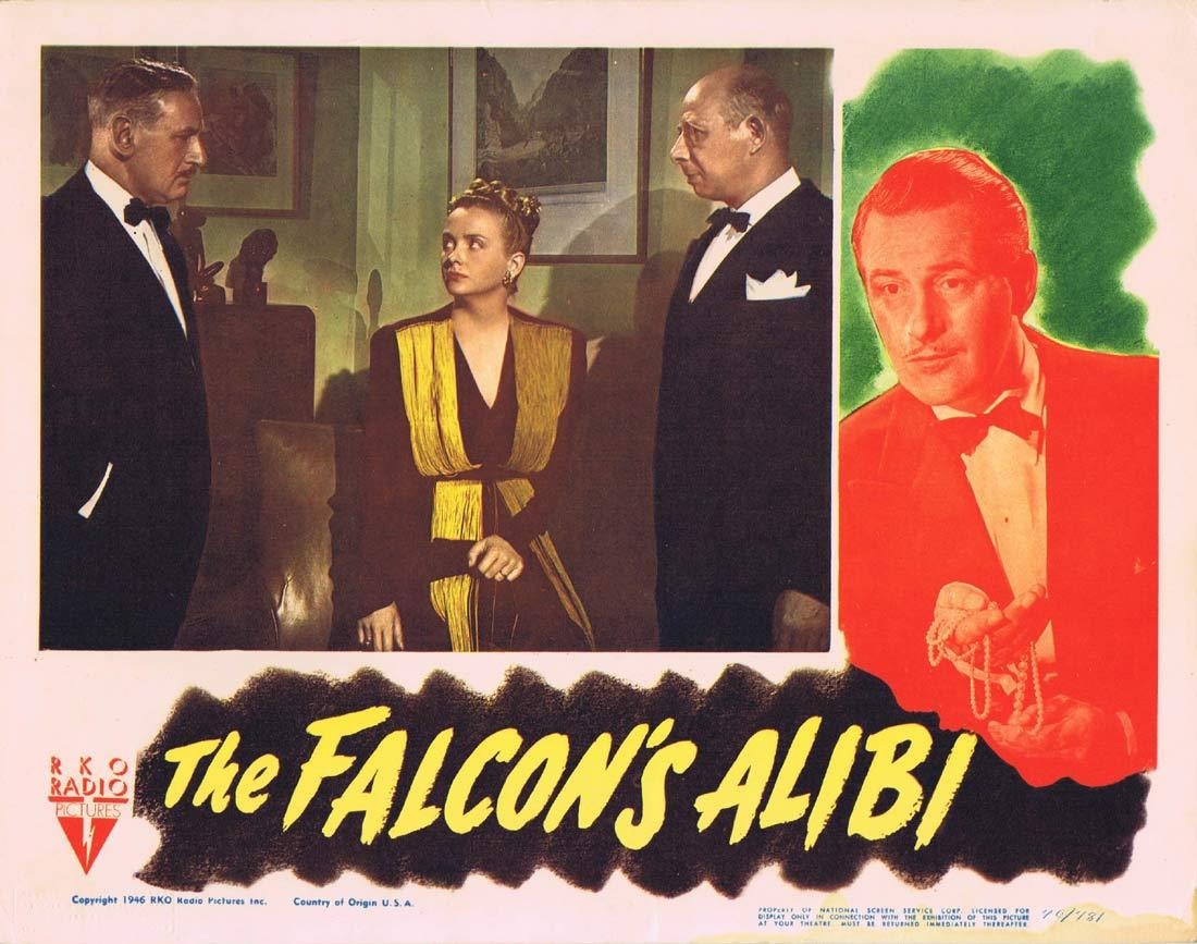 THE FALCON'S ALIBI Lobby Card Tom Conway Rita Corday RKO