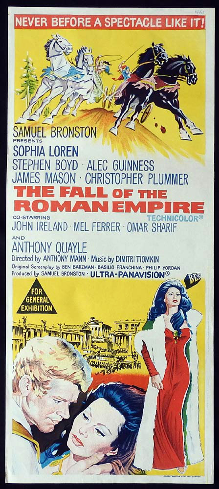 THE FALL OF THE ROMAN EMPIRE Original Daybill Movie Poster Sophia Loren