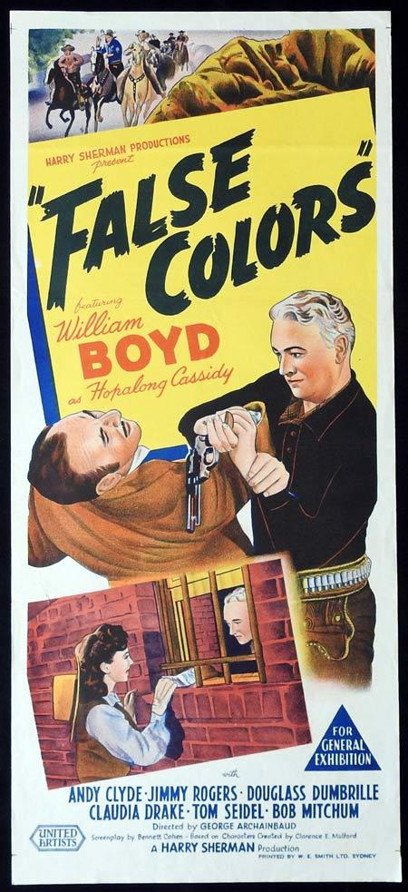 FALSE COLORS Original daybill Movie Poster HOPALONG CASSIDY William Boyd Andy Clyde