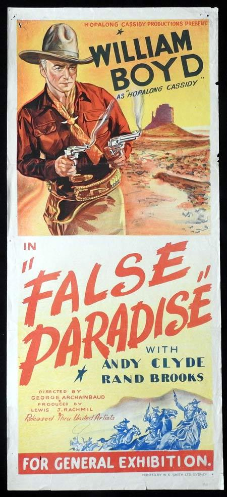FALSE PARADISE Original daybill Movie Poster William Boyd Hopalong Cassidy