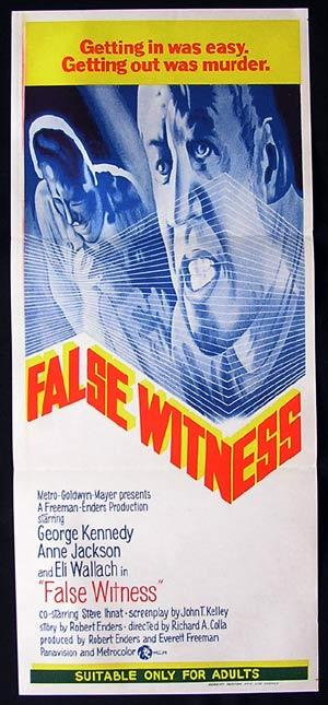 FALSE WITNESS aka  ZIGZAG Australian daybill Movie Poster George Kennedy