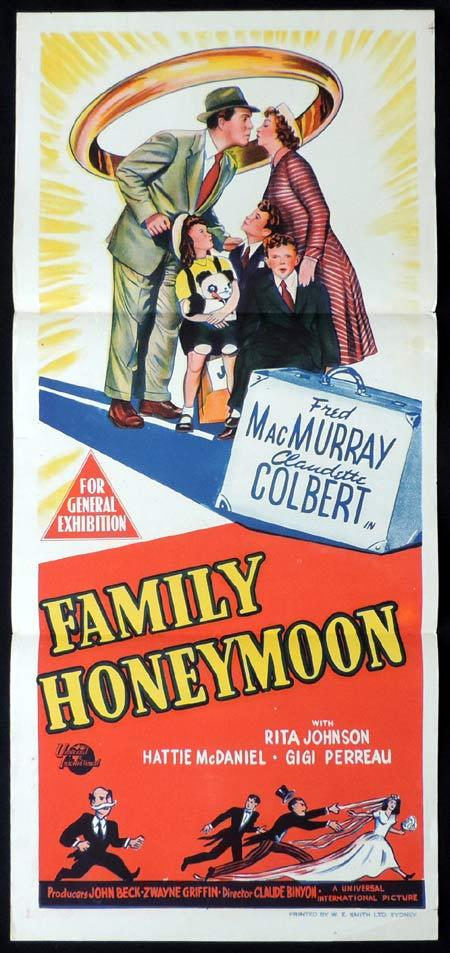 FAMILY HONEYMOON Original Daybill Movie Poster Fred MacMurray Claudette Colbert