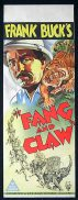 FANG AND CLAW Long Daybill Movie poster 1935 Frank Buck Tiger art
