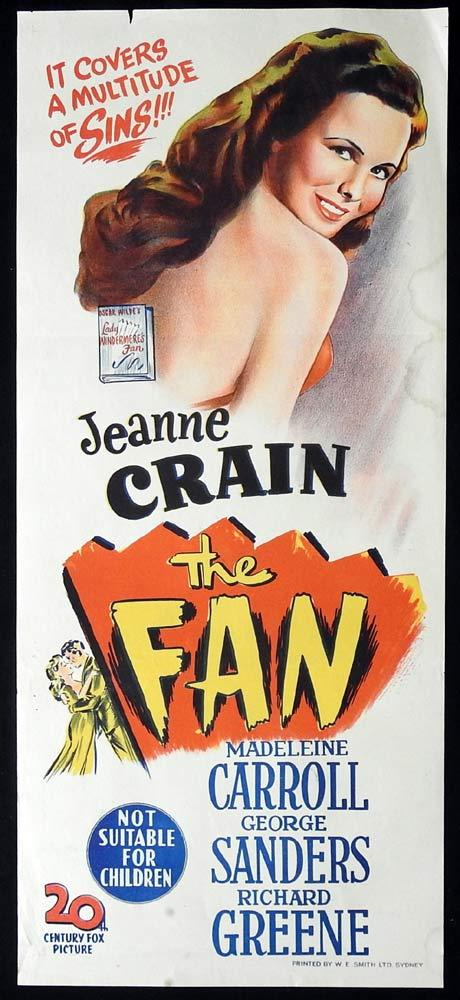 THE FAN Original Daybill Movie poster Jeanne Crain Madeleine Carroll