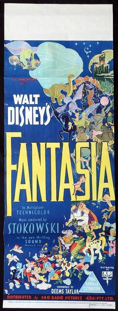 FANTASIA Original Long Daybill Movie Poster Mickey Mouse Disney 1st Release 1940