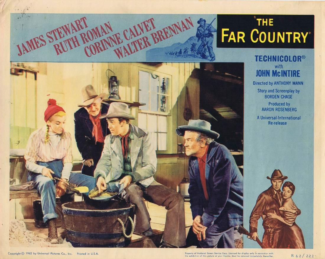 THE FAR COUNTRY Vintage Lobby Card 1 James Stewart Ruth Roman Corinne Calvet 1962r