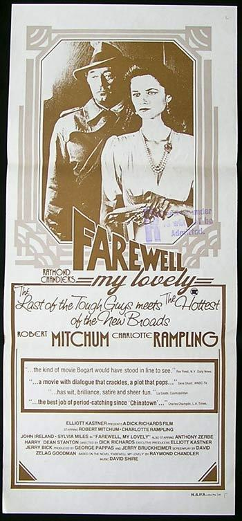 FAREWELL MY LOVELY Daybill Movie Poster Robert Mitchum Film Noir