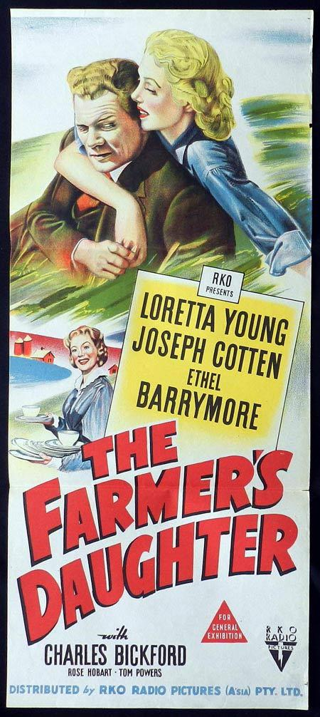 THE FARMERS DAUGHTER Original Daybill Movie Poster Loretta Young Joseph Cotten