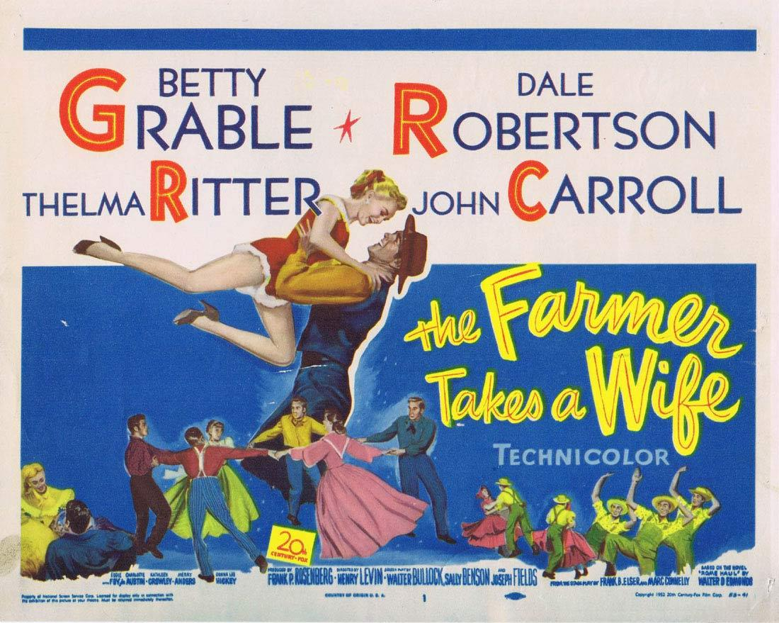THE FARMER TAKES A WIFE '52 Betty Grable Title Lobby Card