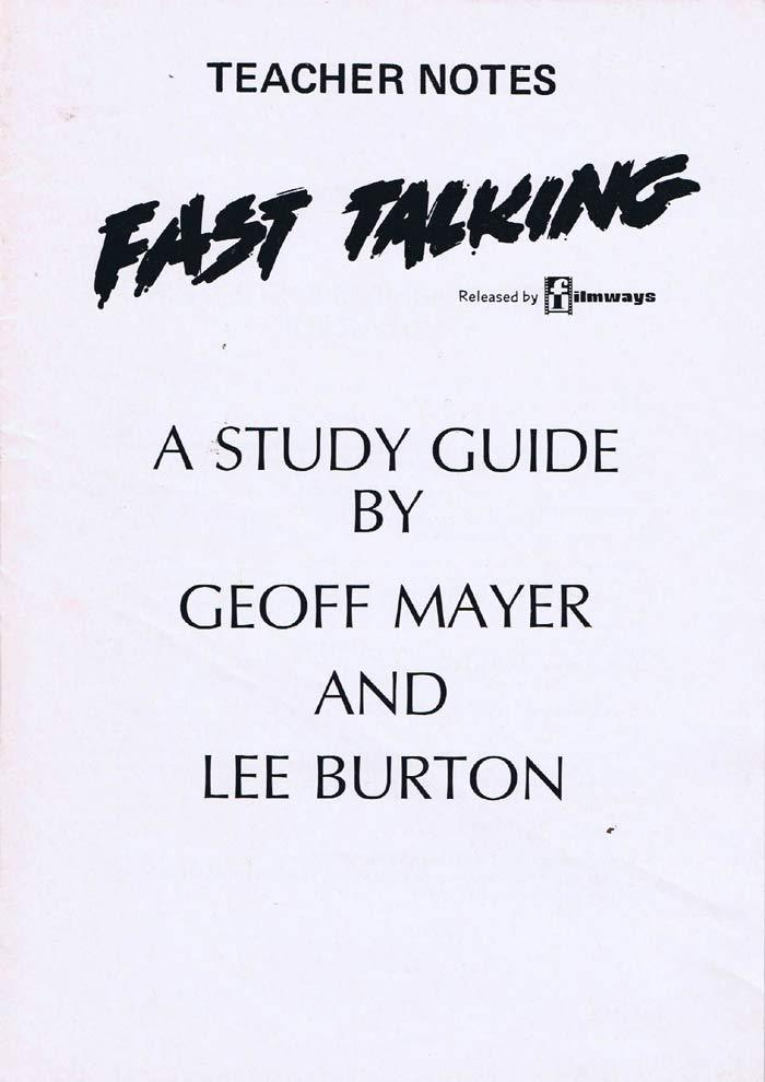 FAST TALKING Original Australian Movie Study Guide Rod Zuanic Steve Bisley B