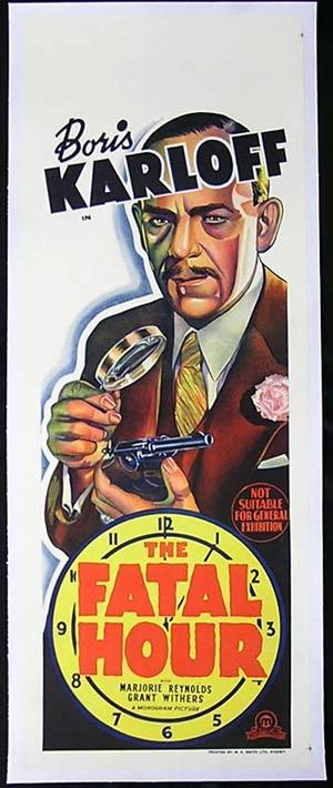 THE FATAL HOUR Long Daybill Movie poster Boris Karloff