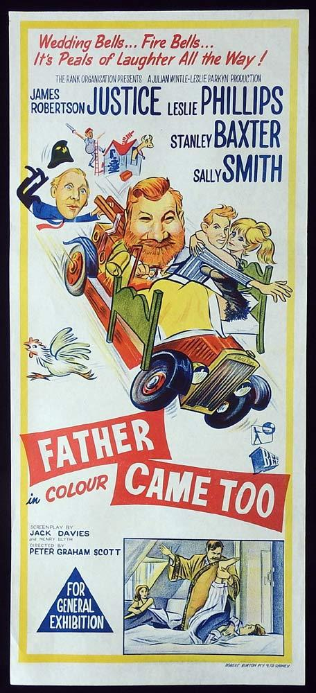 FATHER CAME TOO Original Daybill Movie poster James Robertson Justice Leslie Phillips