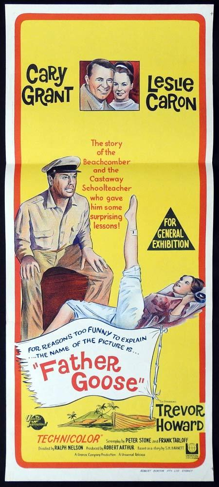 FATHER GOOSE Original Daybill Movie Poster Cary Grant Leslie Caron