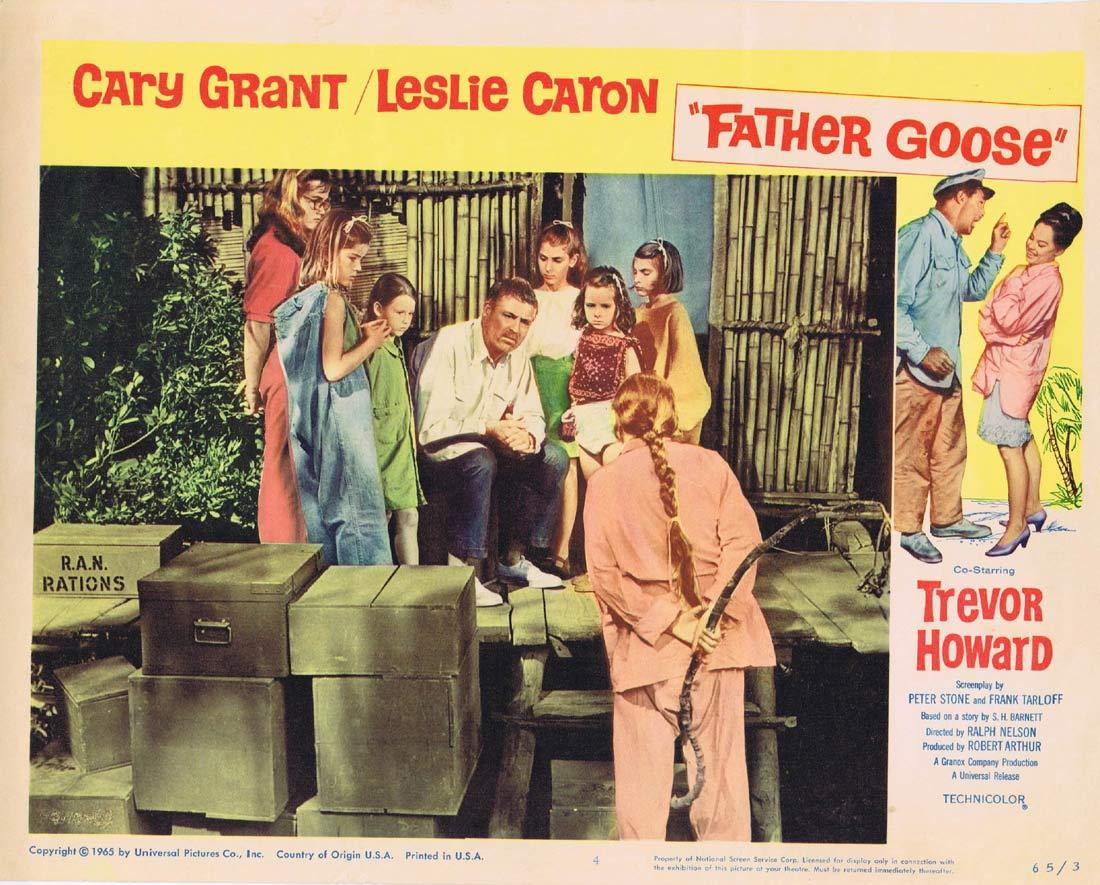 FATHER GOOSE Original Lobby Card 4 Cary Grant Leslie Caron
