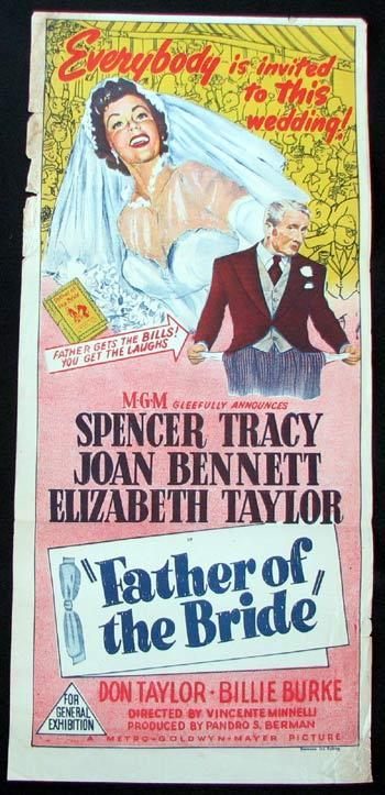 FATHER OF THE BRIDE Movie poster Elizabeth Taylor Joan Bennett Spencer Tracy