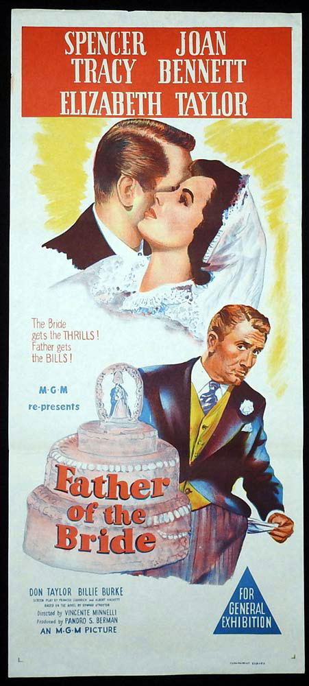 FATHER OF THE BRIDE Original Daybill Movie Poster Elizabeth Taylor Spencer Tracy 50sr