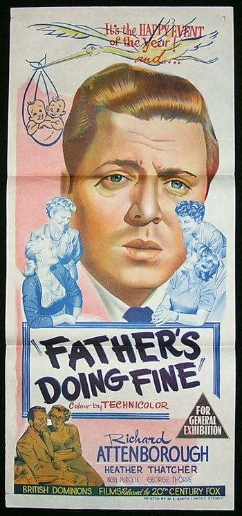 FATHER'S DOING FINE Daybill Movie Poster Alistair Sim John Mills
