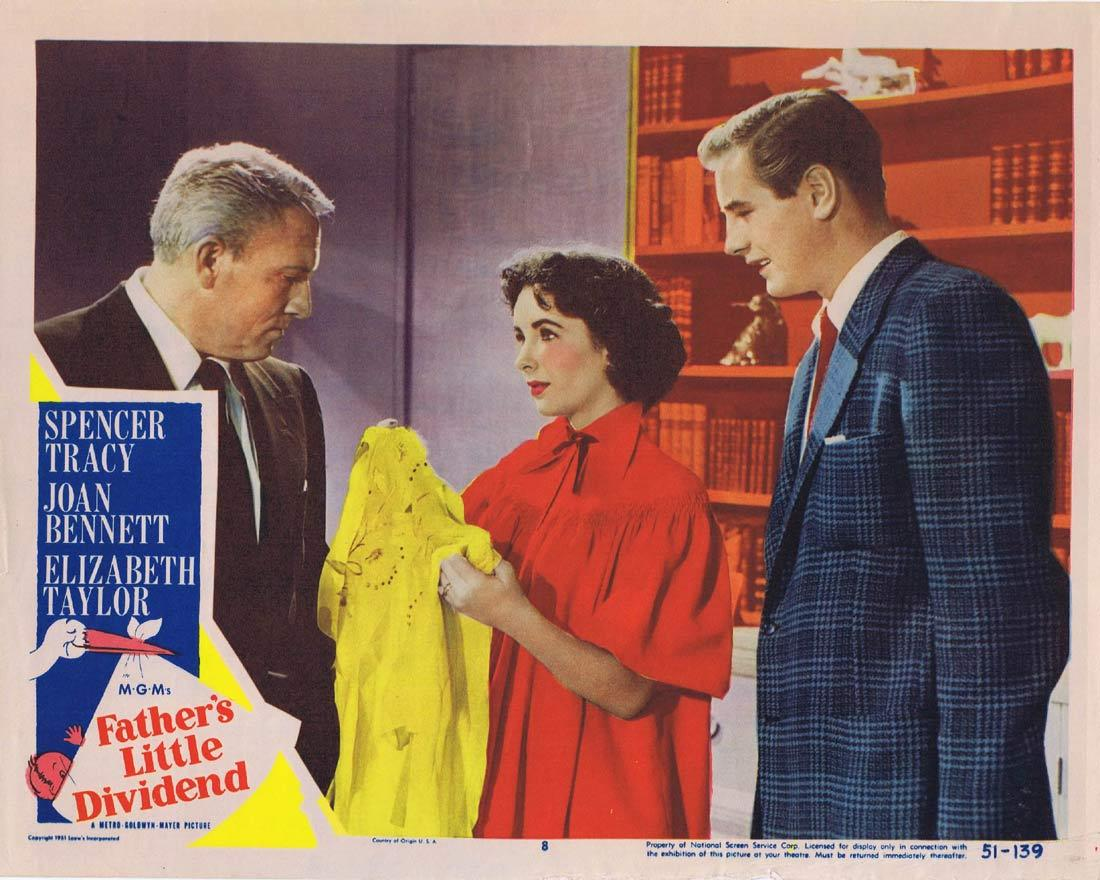 FATHER'S LITTLE DIVIDEND Original Lobby Card Spencer Tracy Joan Bennett Elizabeth Taylor