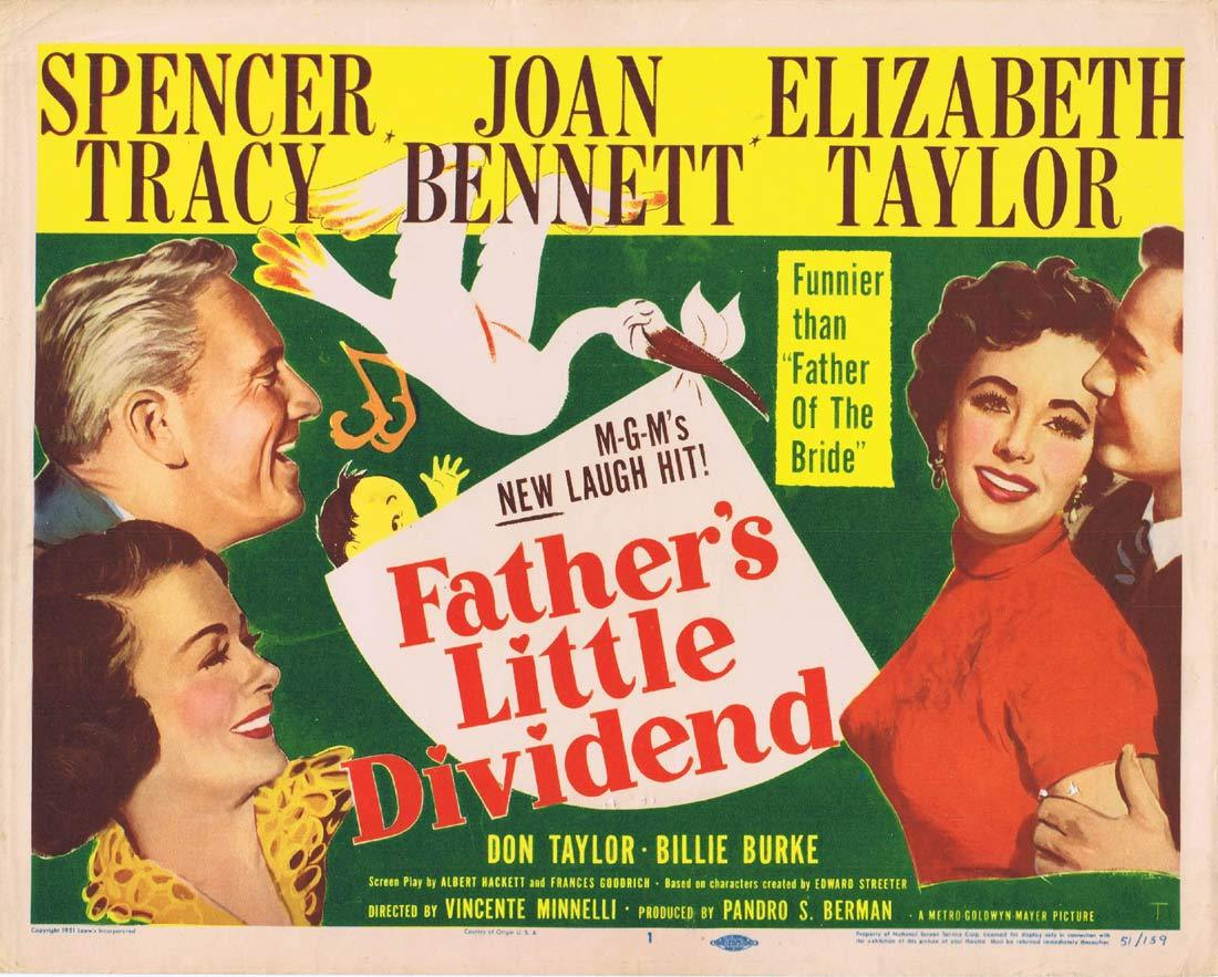 FATHER'S LITTLE DIVIDEND Original Title Lobby Card Spencer Tracy Joan Bennett Elizabeth Taylor