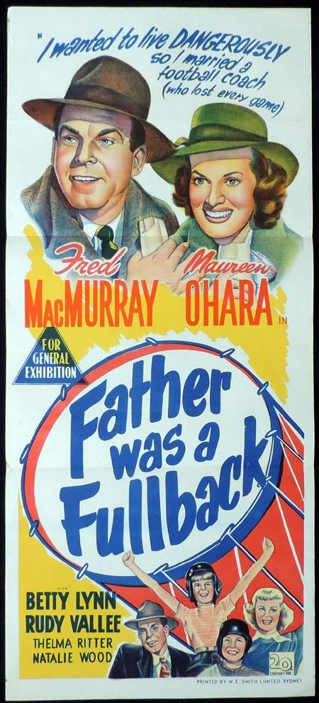 FATHER WAS A FULLBACK Original Daybill Movie Poster Fred MacMurray Maureen O'Hara