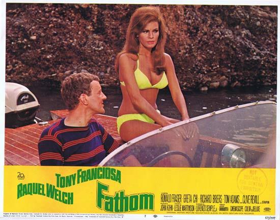 FATHOM Lobby card 7 Raquel Welch in yellow bikini