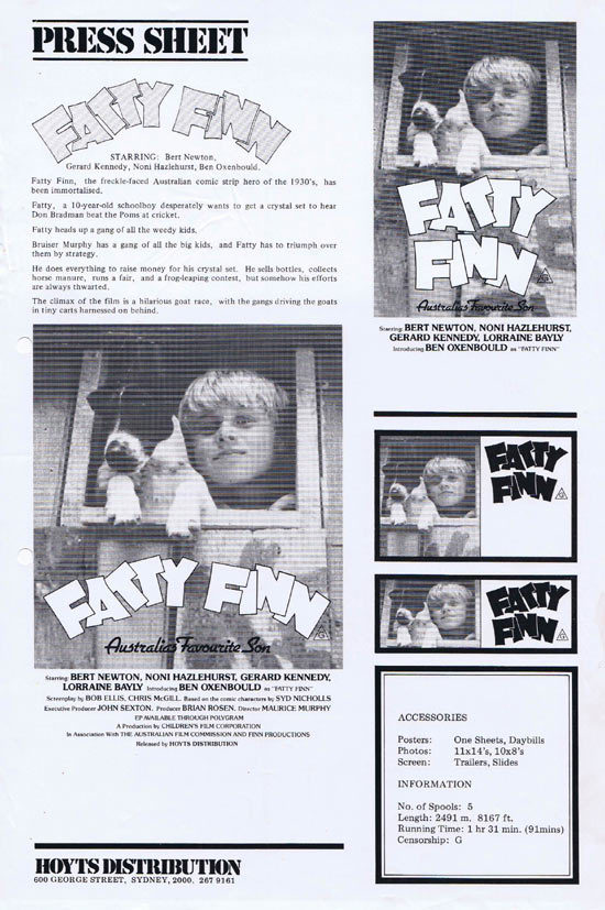 FATTY FINN Rare AUSTRALIAN Movie Press Sheet
