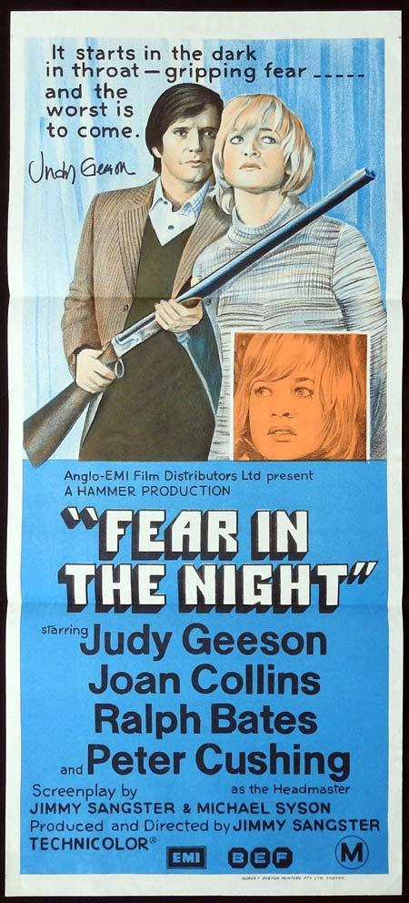 FEAR IN THE NIGHT Original Daybill Movie Poster Autographed by Judy Geeson