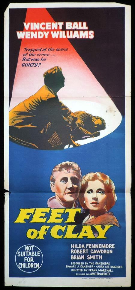 FEET OF CLAY Daybill Movie Poster Vincent Ball FIlm Noir
