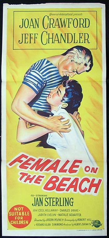 FEMALE ON THE BEACH '55 Joan Crawford RARE Daybill Movie poster
