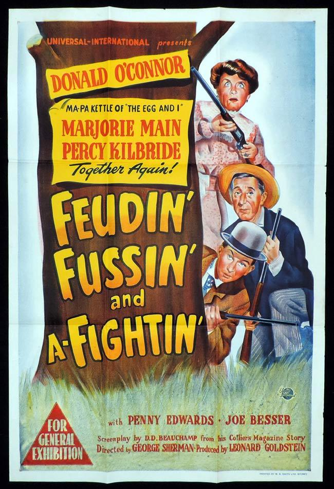 FEUDIN FUSSIN AND A FIGHTIN Original One sheet Movie Poster DONALD O'CONNOR Marjorie Main