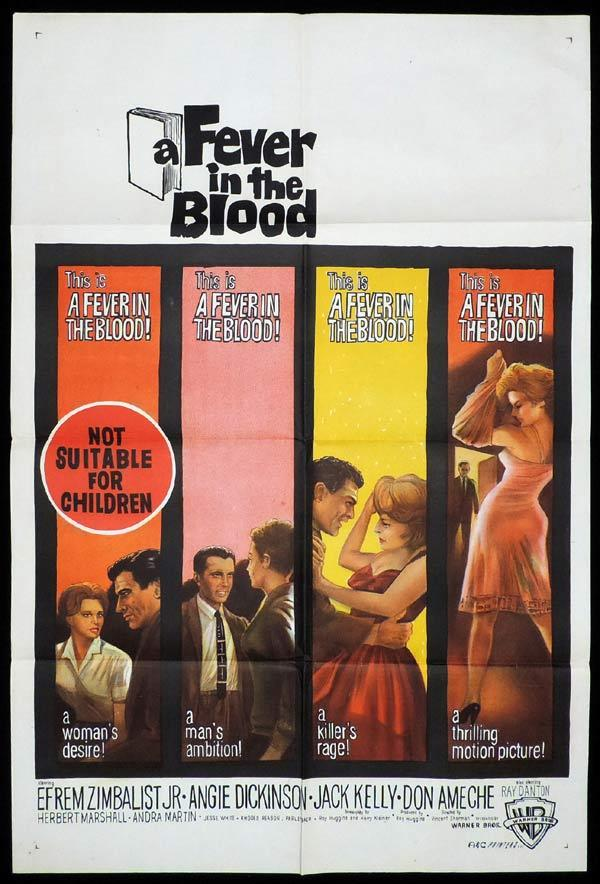 FEVER IN THE BLOOD One Sheet Movie Poster Efrem Zimbalist Jr Angie Dickinson
