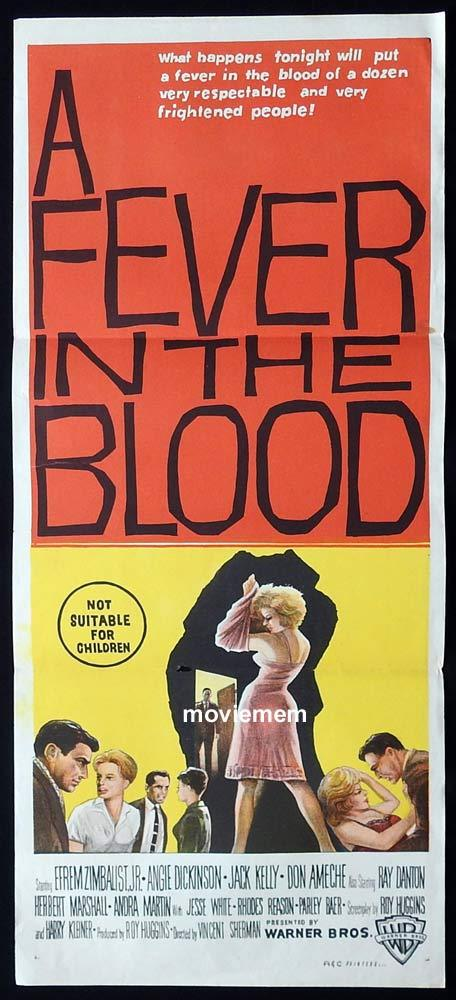A FEVER IN THE BLOOD Original Daybill Movie Poster Efrem Zimbalist Jr. Angie Dickinson