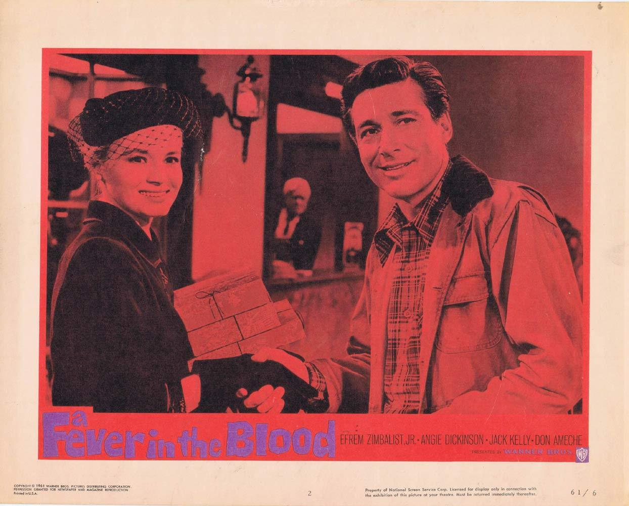 A FEVER IN THE BLOOD Lobby Card 2 Efrem Zimbalist Jr Angie Dickinson