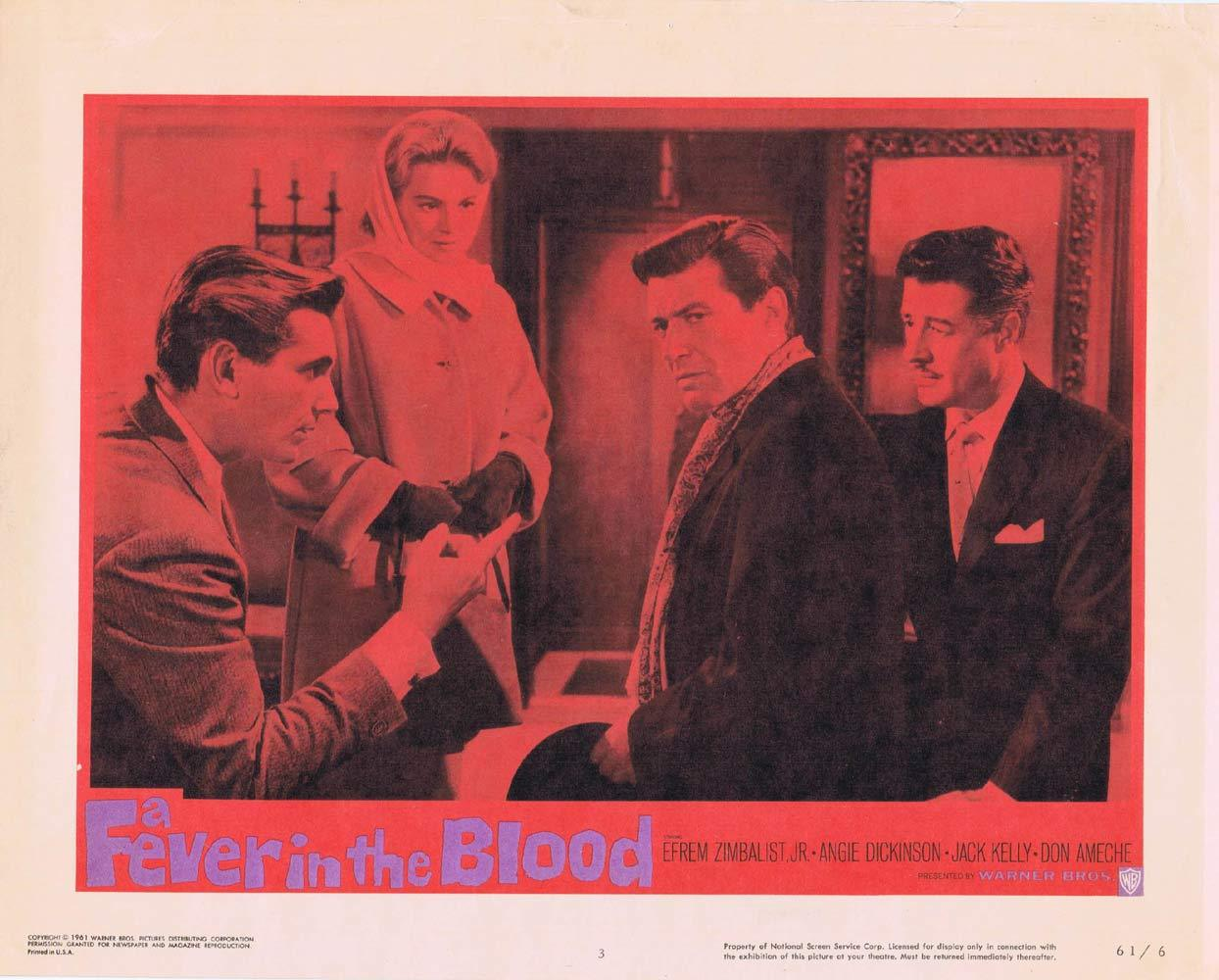 A FEVER IN THE BLOOD Lobby Card 3 Efrem Zimbalist Jr Angie Dickinson