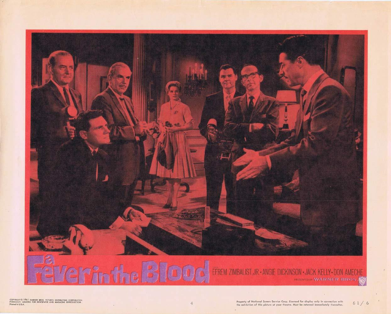 A FEVER IN THE BLOOD Lobby Card 4 Efrem Zimbalist Jr Angie Dickinson