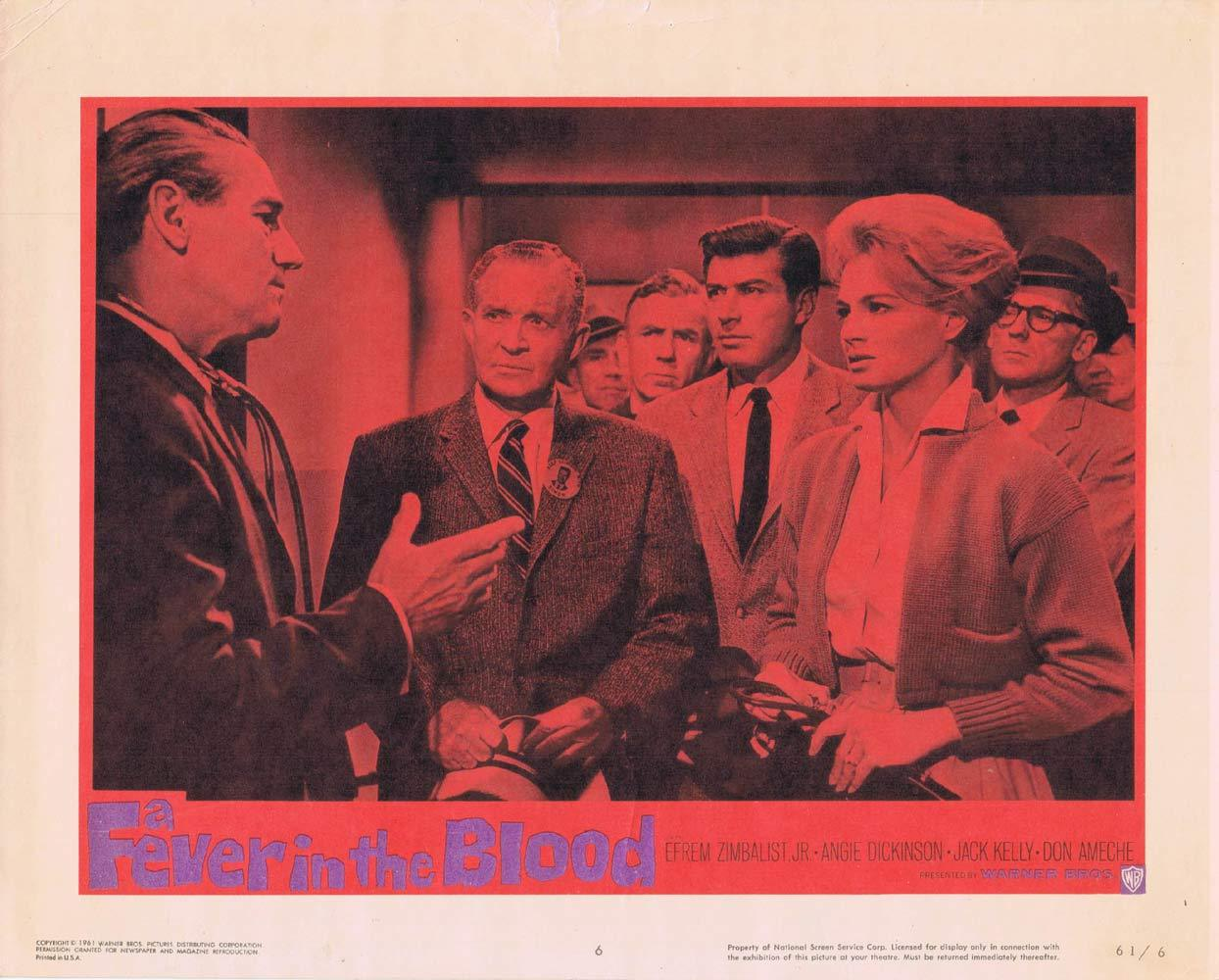 A FEVER IN THE BLOOD Lobby Card 6 Efrem Zimbalist Jr Angie Dickinson