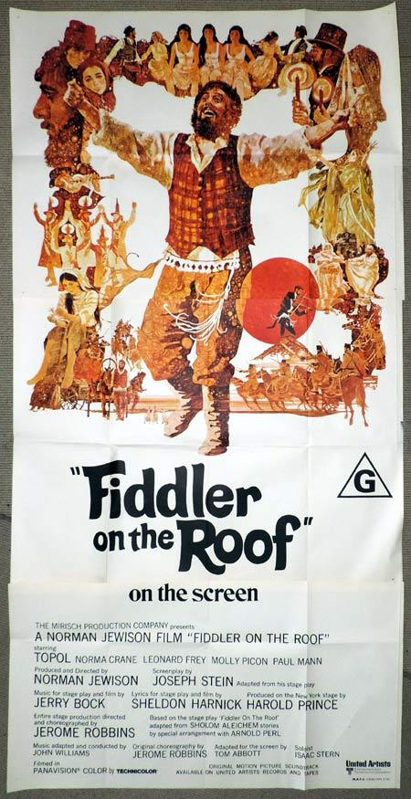 FIDDLER ON THE ROOF Original 3 Sheet Movie Poster Chaim Topol